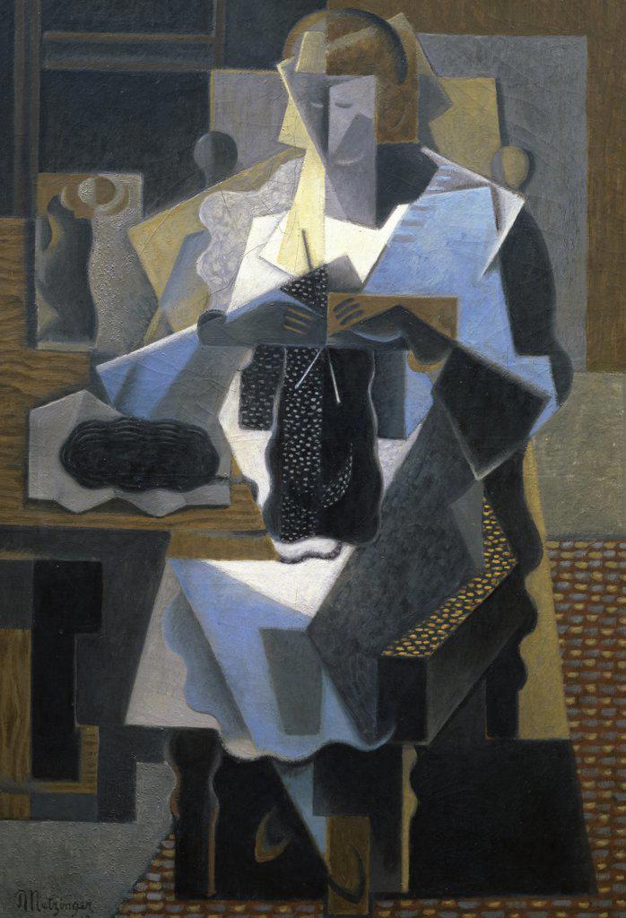 The Knitter by Jean Metzinger, 1919, 1883-1956, France, Paris, Musee National d'Art de Moderne : Stock Photo