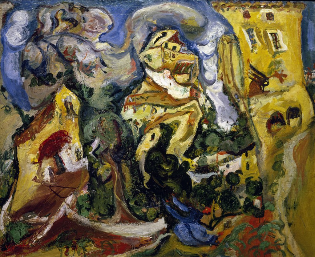 Stock Photo: 1158-1663 The Houses by Chaim Soutine, 1893-1943, France, Paris, Musee de l'Orangerie