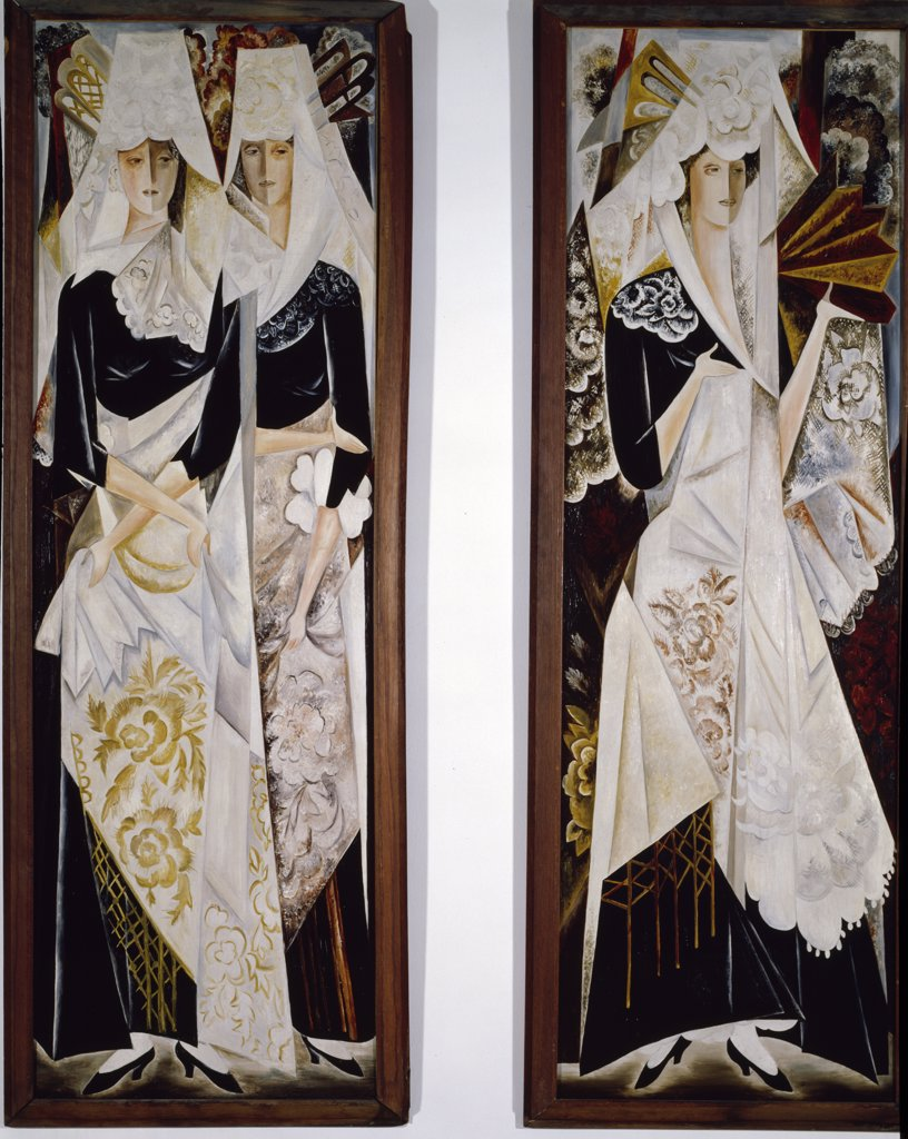 Stock Photo: 1158-1695 Two Spanish Women,  by Natalija Sergeevna Goncarova,  1916-1920,  France,  Paris,  Centre Georges Pompidou,  Musee National d'Art Moderne,  1881-1962