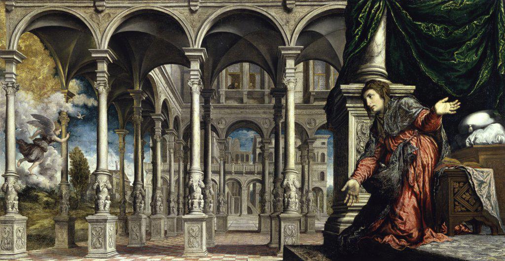 Stock Photo: 1158-1700 The Annunciation  c. 1545-1550  Paris Bordone (1500-1571/Italian)  Musee des Beaux-Arts, Caen