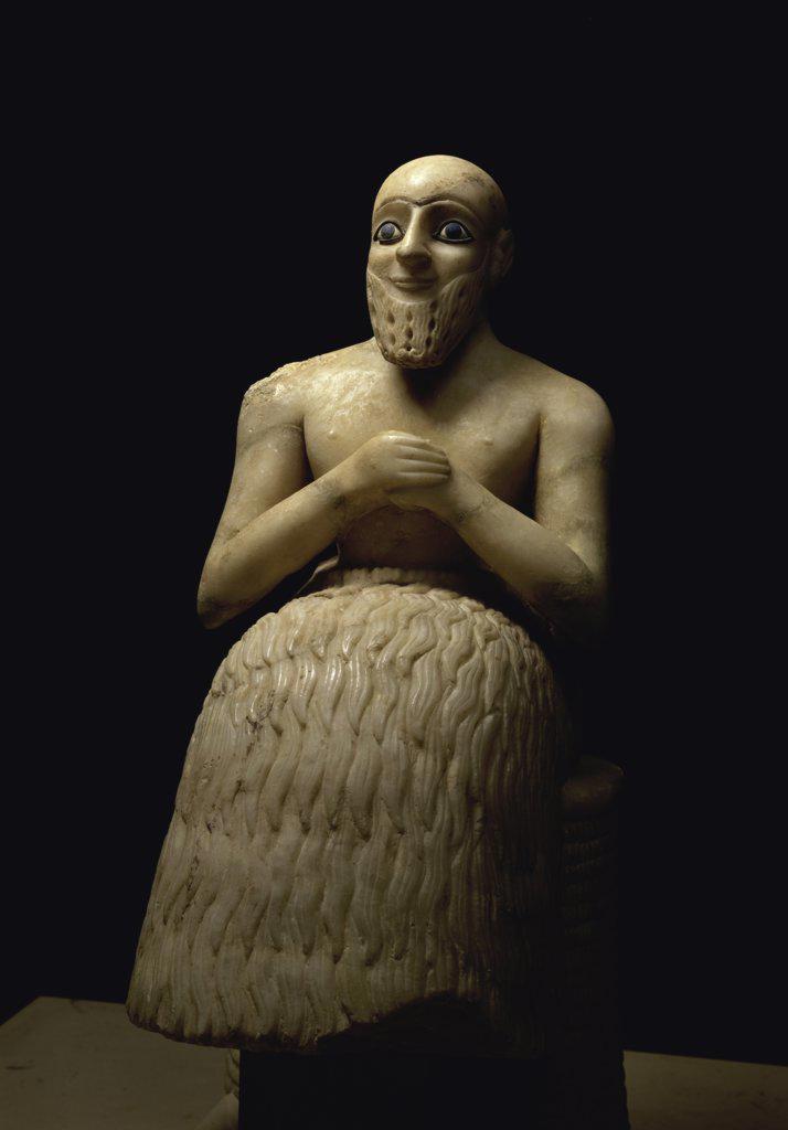 Stock Photo: 1158-1734 The Steward Ebih-il  Mesopotamian Art  Musee du Louvre, Paris