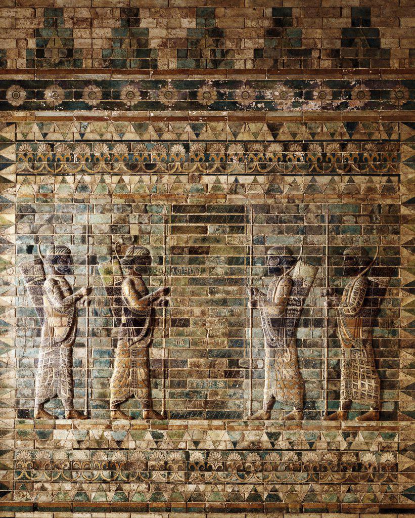 Stock Photo: 1158-1735 Frieze of Archers Mesopotamian Art Musee Du Louvre, Paris