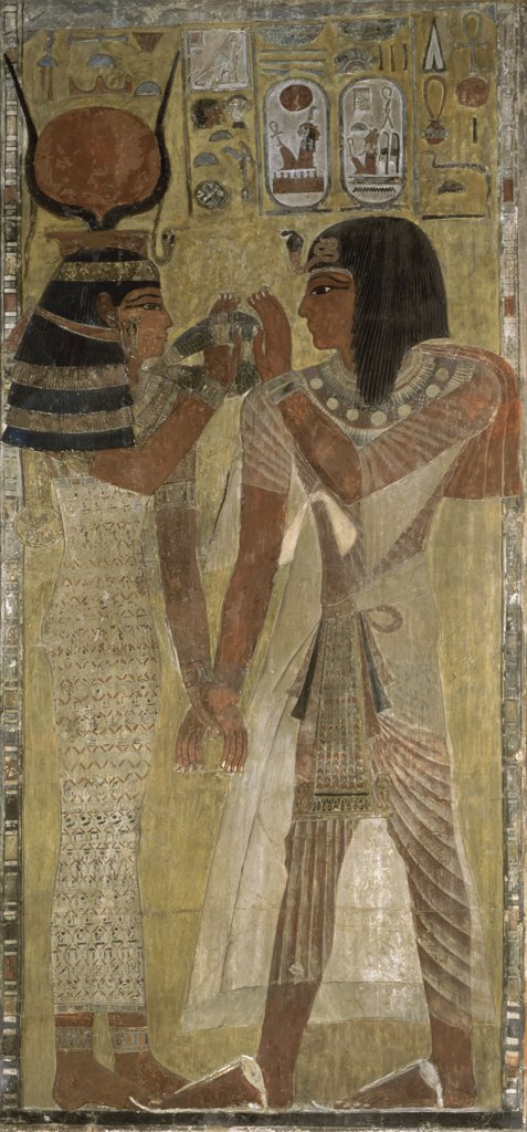 Stock Photo: 1158-1749 Goddess Hathor Giving the Magic Necklace to Seti I