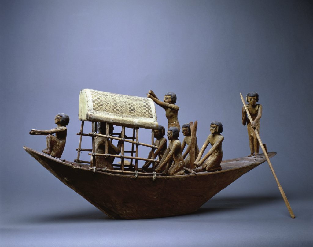 Stock Photo: 1158-1753 Model of a Funeral Boat  Egyptian Art  Musee du Louvre, Paris