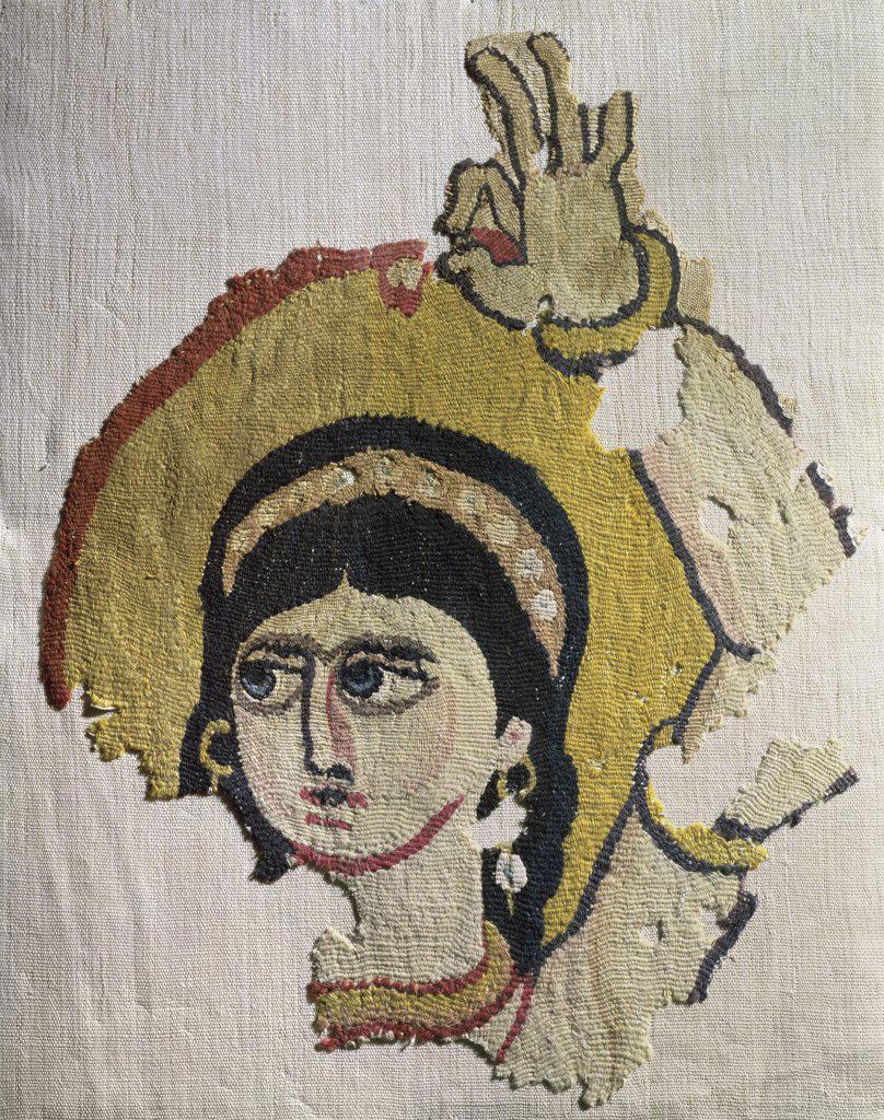 Stock Photo: 1158-1755 Head of a Dancer  Coptic Art  Egyptian  Musee du Louvre, Paris