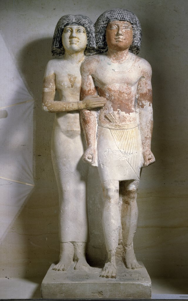 Stock Photo: 1158-1762 Statue of men and woman standing together, France, Paris, Musee du Louvre