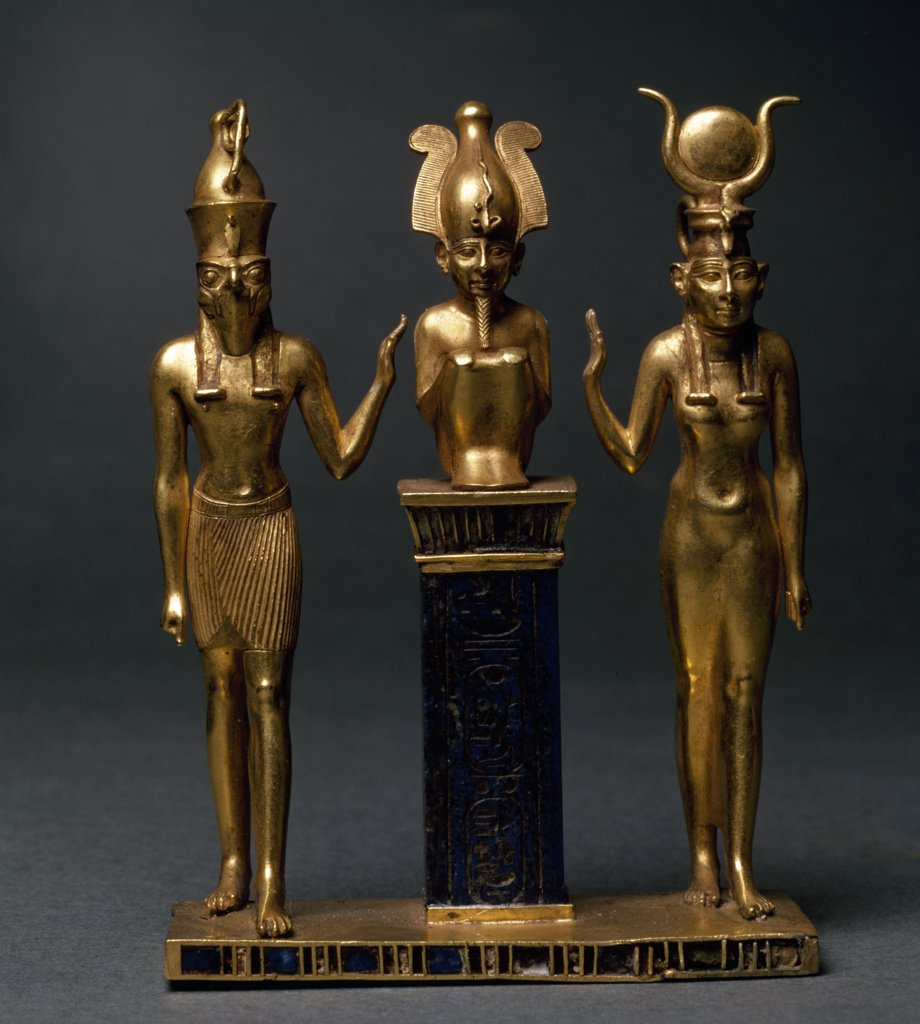 Trinity of Osorkon II: Osiris Flanked by Isis and Horus, France, Paris, Musee du Louvre : Stock Photo