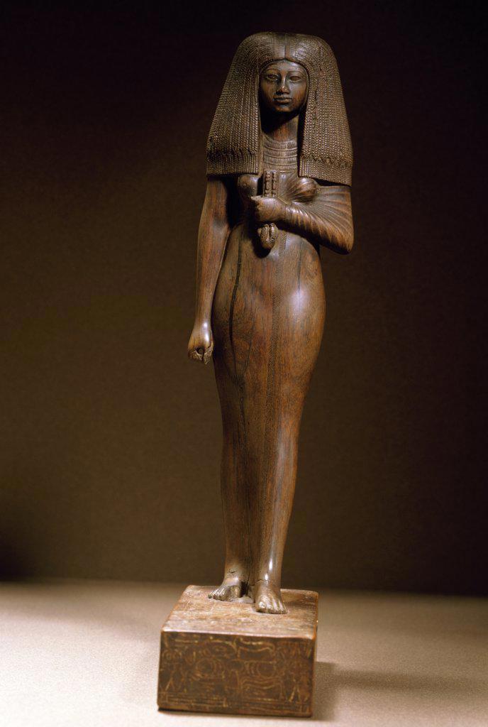 Lady Touy, sculpture, France, Paris, Musee du Louvre : Stock Photo