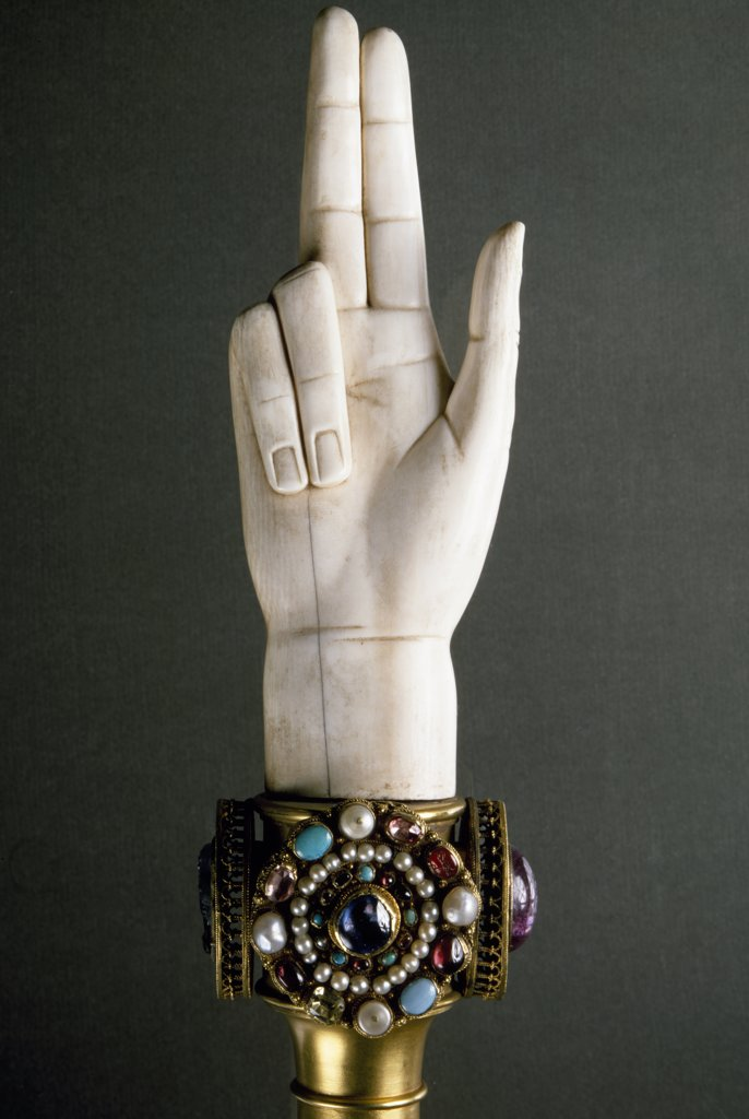 Stock Photo: 1158-1829 Hand of Justice from Treasure of St. Denis by Artist Unknown, France, Paris, Musee du Louvre