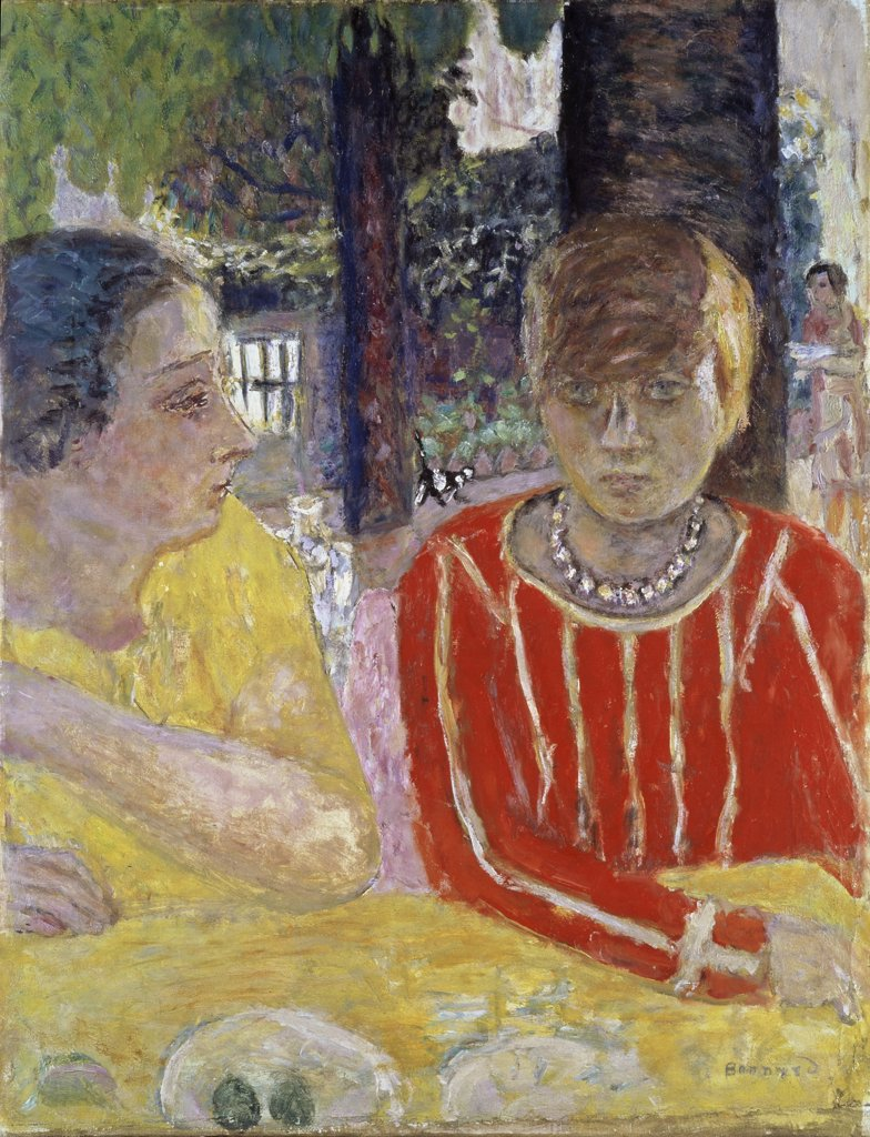 Reina Nathanson and Martha Bonnard in a Red Blouse by Pierre Bonnard, 1867-1947, France, Paris, Centre Georges Pompidou, Musee National d'Art Moderne : Stock Photo