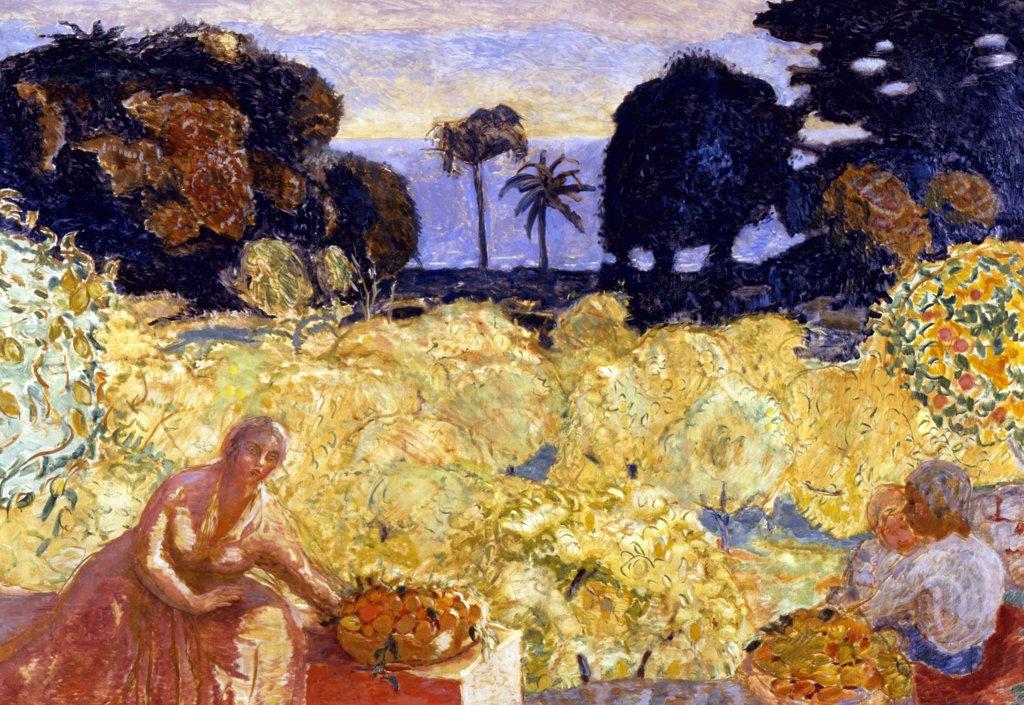 Woman And Children In Yellow Landscape by Pierre Bonnard, (1867-1947), Akram Ojjeh Collection : Stock Photo