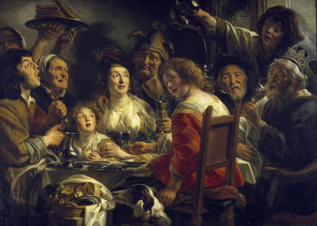 Stock Photo: 1158-1875 The King Drinks by Jacob Jordaens, (1593-1678), France, Paris, Musee du Louvre