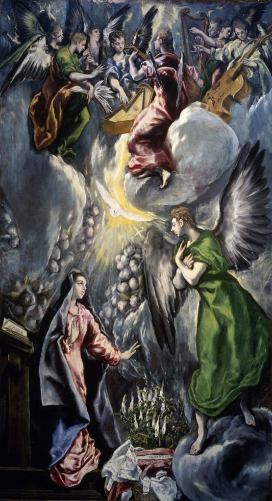 Stock Photo: 1158-1877 The Annunciation by El Greco,  (1541-1614),  Spain,  Madrid,  Museo del Prado