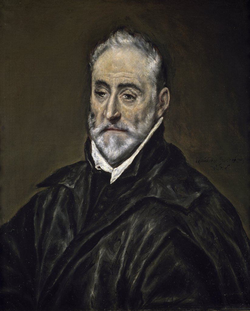 Stock Photo: 1158-1892 Portrait of Antonio Covarrubias by El Greco, (1541-1614), Spain, Madrid, Museo del Prado