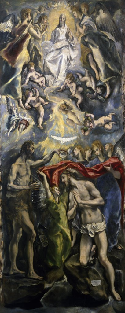 The Baptism of Christ by El Greco,  (1541-1614),  Spain,  Madrid,  Museo del Prado : Stock Photo