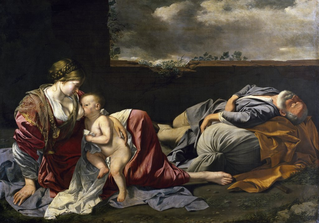 Stock Photo: 1158-1904 Repose of the Holy Family by Orazio Gentileschi,  (1563-1639),  France,  Paris,  Musee du Louvre
