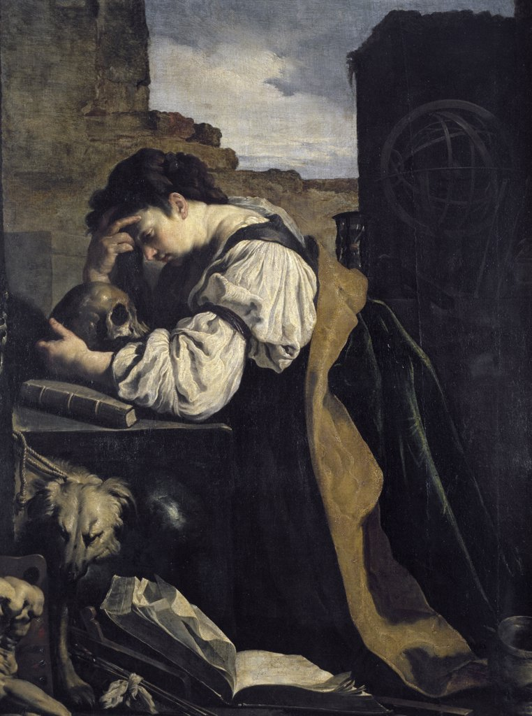 Stock Photo: 1158-1913 Melancholy by Domenico Fetti, (1589-1624), France, Paris, Musee du Louvre