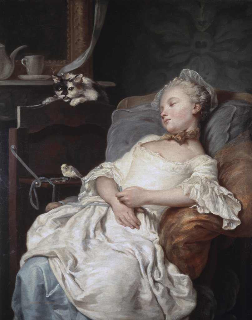 The Rest Le Repos Jean Francois Colson (1733-1803 French) Musee des Beaux-Arts, Dijon, France : Stock Photo