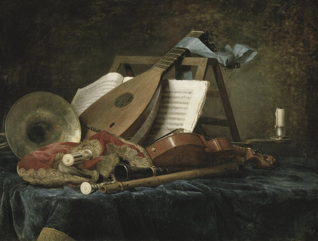 Stock Photo: 1158-1919 The Attributes of Music  1770  Anne Vallayer-Coster (1744-1818/ French)  Musee du Louvre, Paris