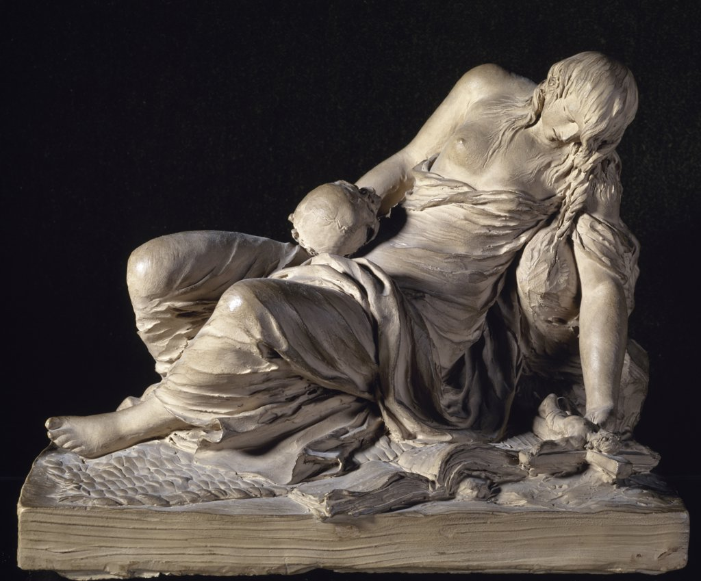 Stock Photo: 1158-1933 Penitent Mary Magdalene by Claude Michel, (1738-1814), France, Paris, Musee du Louvre
