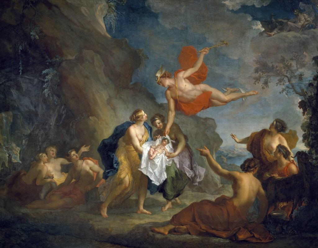 Mercury Entrusting Bacchus to the Nymphs on the Island of Naxos by Hyacinthe Collin de Vermont, (1693-1761), France, Tours, Musee des Beaux Arts : Stock Photo