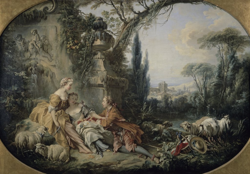 The Den Or Charmes Of Rural Life Le Nid Ou Charmes De La Vie Champetre Francois Boucher (1703-1770 French) Musee du Louvre, Paris, France : Stock Photo