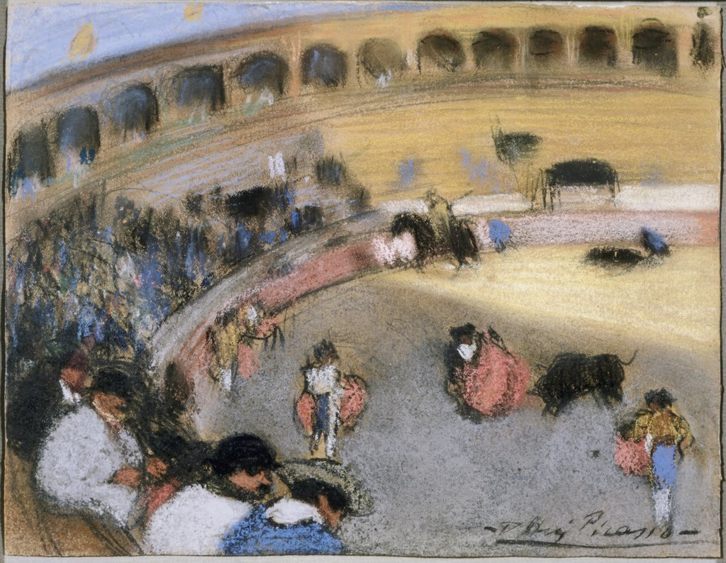 Scene in Corrida by Pablo Picasso, 1881-1973, USA, California, Santa Monica, Private Collection Bloch : Stock Photo