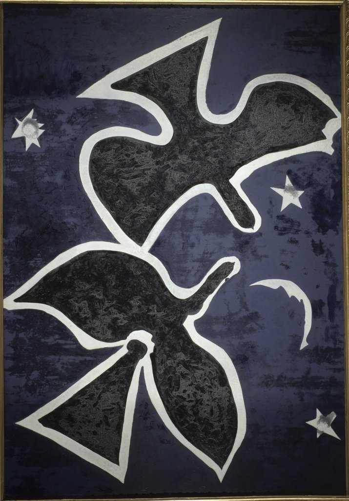 Stock Photo: 1158-1951 Blue Birds by Georges Braque, 1882-1963, France, Paris, Musee du Louvre