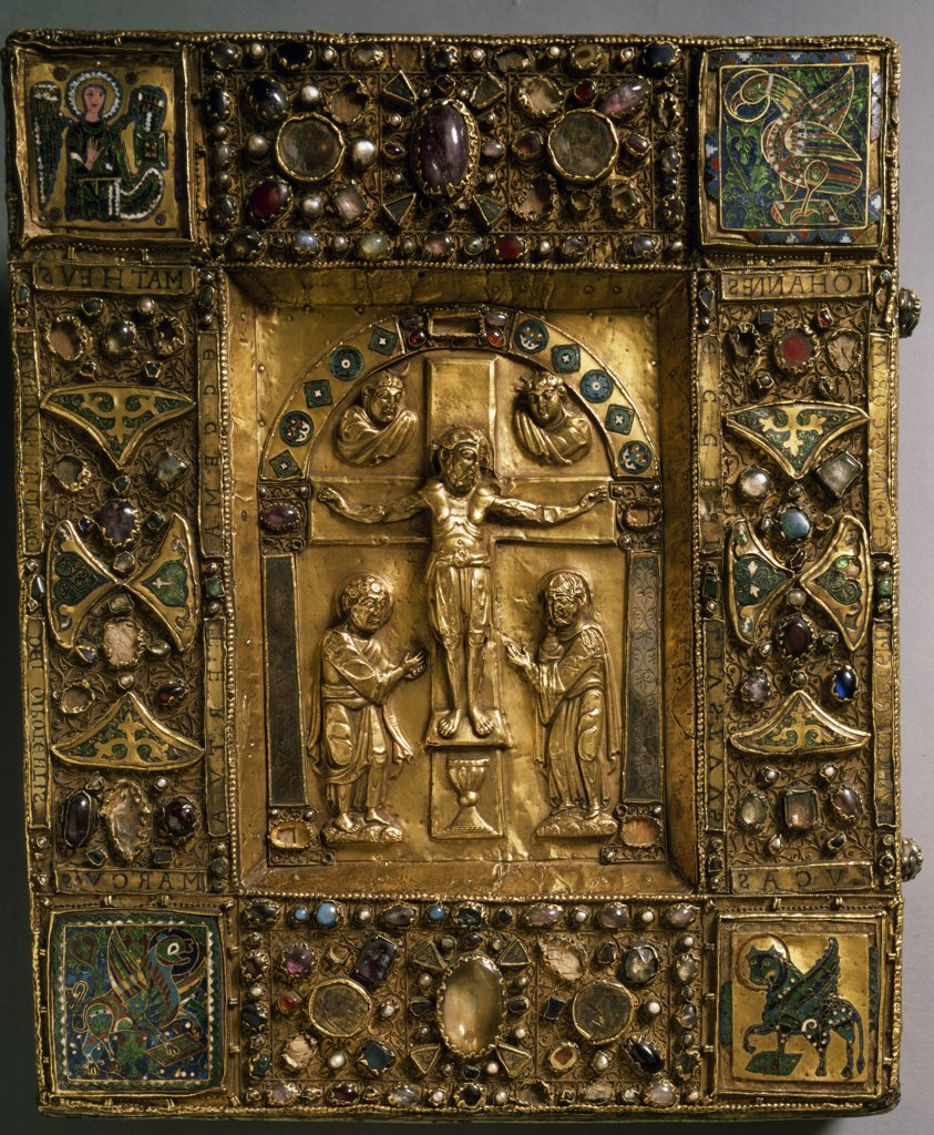 Manuscript Cover with Crucifixion and Evangelist Symbols by unknown artist : Stock Photo