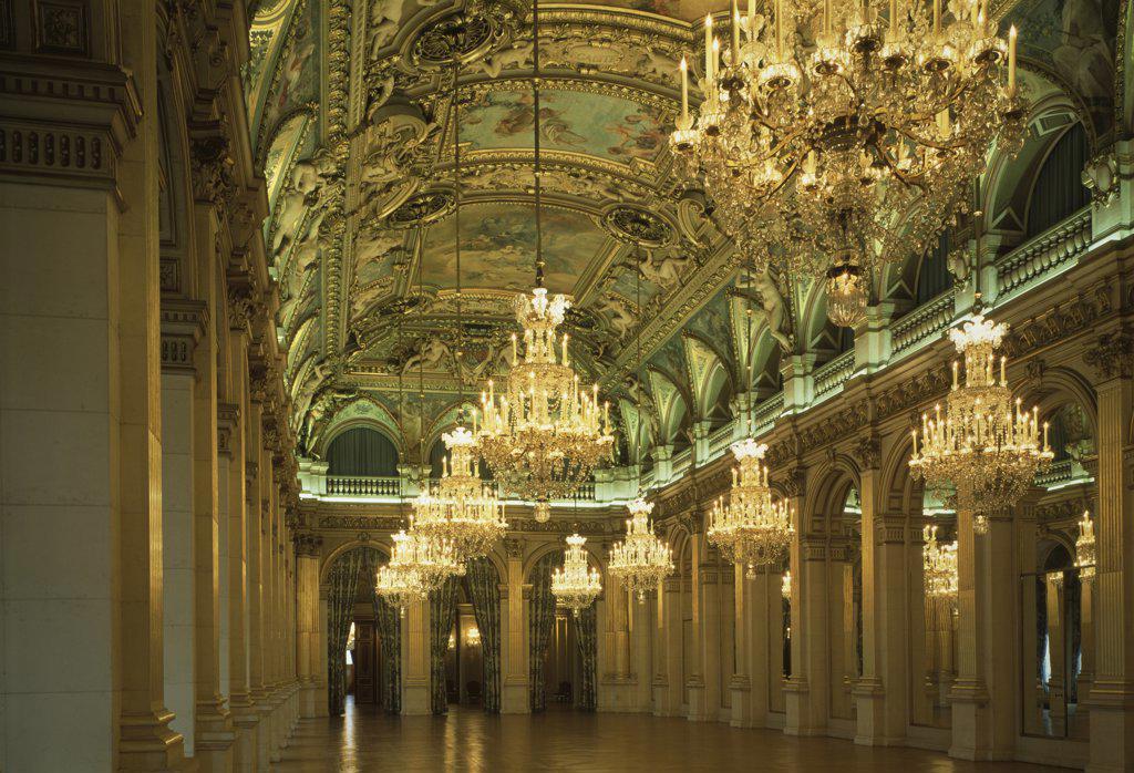 Stock Photo: 1158-1974 Hotel De Ville-Salle Des Fetes Hotel De Ville-Hall Of Feasts Paris France