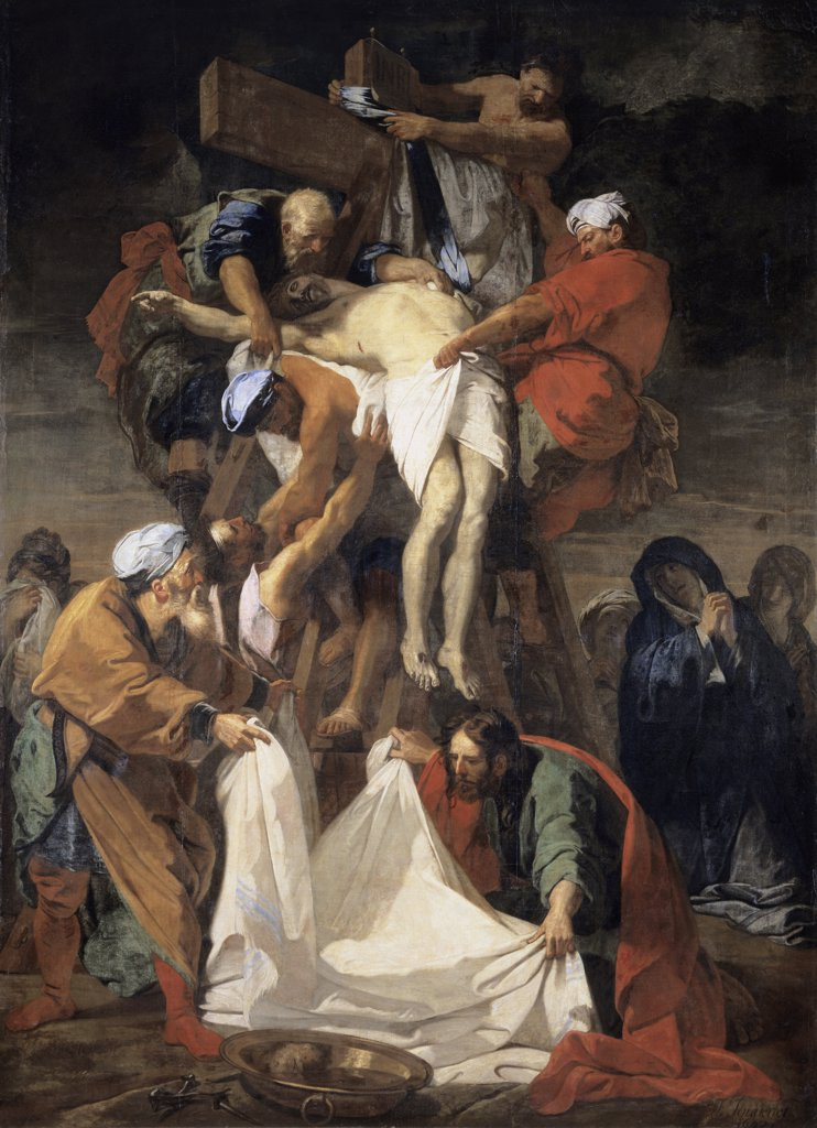 Stock Photo: 1158-1989 Descent from the Cross 1697 Jean Baptiste Jouvenet (1644-1717 French) Oil on canvas Musee du Louvre, Paris, France