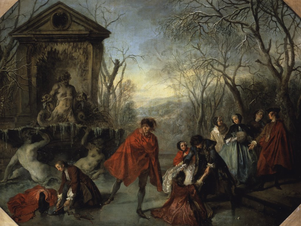 Winter Or The Skaters L'hiver Ou Les Patineurs Nicolas Lancret (1690-1743 French) Musee du Louvre, Paris, France : Stock Photo