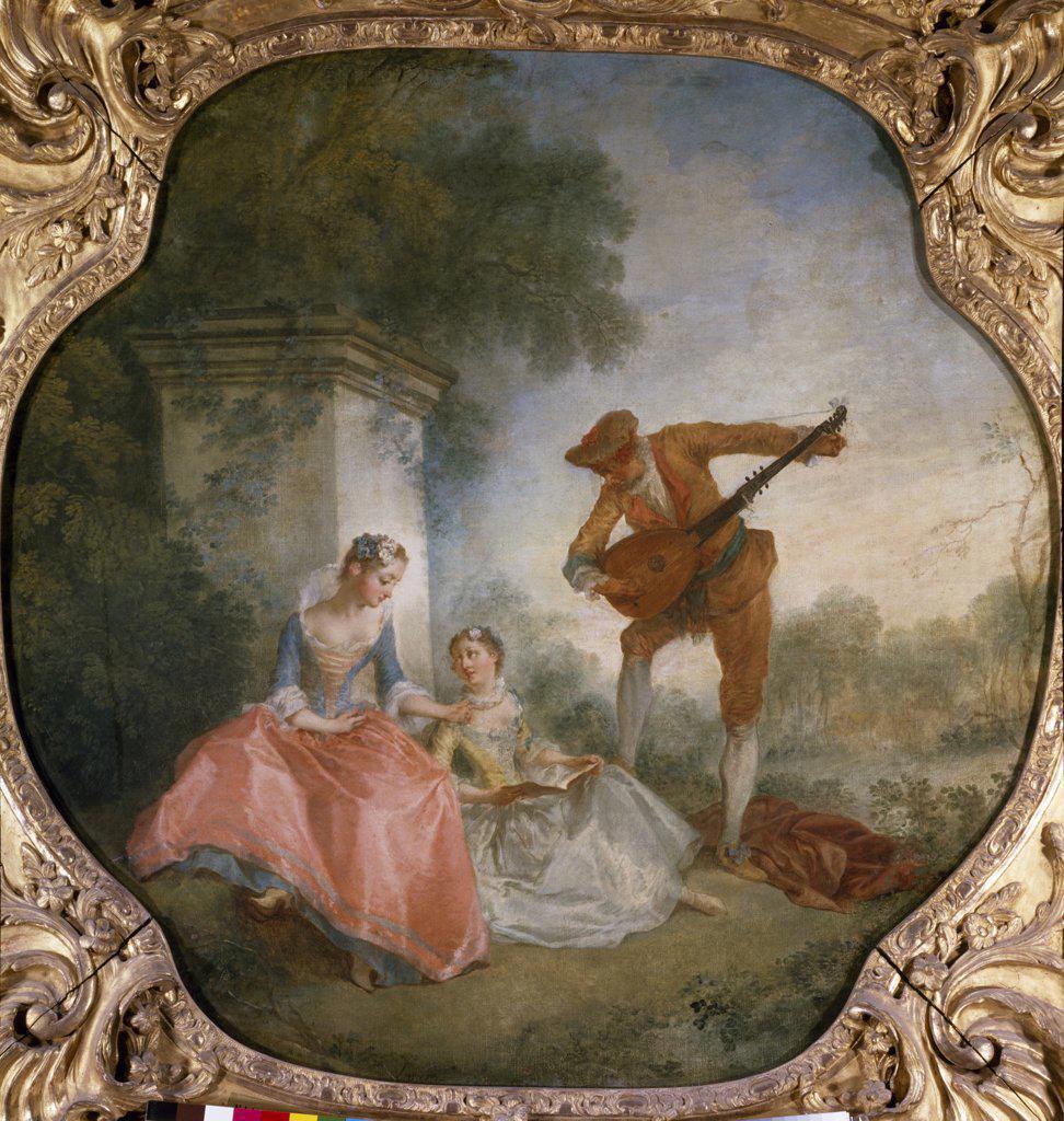 Stock Photo: 1158-1995 The Music Lesson by Nicolas Lancret, (1690-1743), France, Paris, Musee du Louvre