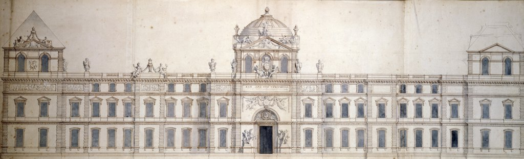 Plan for the Eastern Facade of the Louvre by Charles Le Brun, (1619-1690), France, Paris, Musee du Louvre : Stock Photo