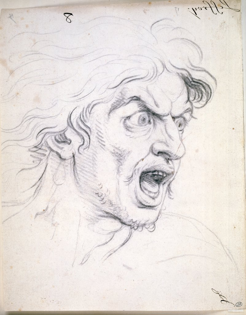Stock Photo: 1158-2008 Face of Expression-The Terror by Charles Le Brun, (1619-1690), France, Paris, Musee du Louvre