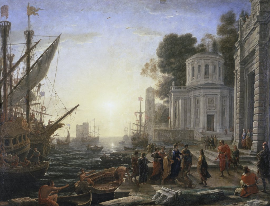Stock Photo: 1158-2012 The Arrival of Cleopatra Le Debarquement de Cleopatre Claude Lorrain (1600-1682 French) Musee du Louvre, Paris, France