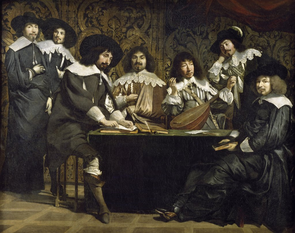 Meeting of the Lovers of the Academy by Louis Le Nain, (Circa 1593-1648), France, Paris, Musee du Louvre : Stock Photo