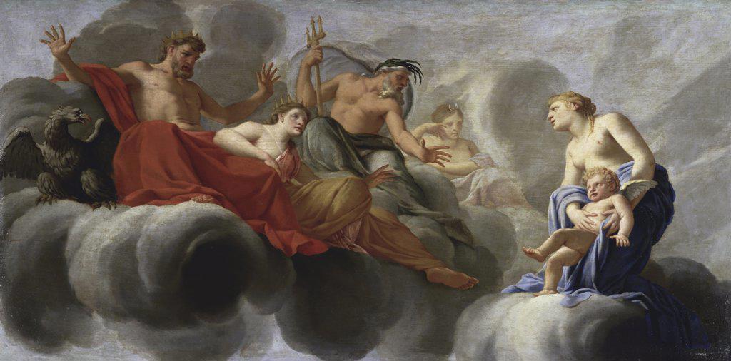 Venus Presents Cupid to Jupiter  (Venus Presente l'Amour a Jupiter)  Eustache Le Sueur (1617-1655/French)  Musee du Louvre, Paris   : Stock Photo