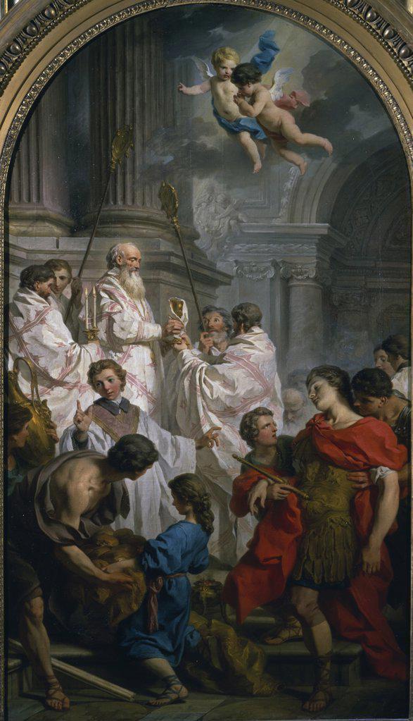 Stock Photo: 1158-2024 Mass of Saint Bazille by Eustache Le Sueur,  (1617-1655),  France,  Paris,  Musee du Louvre