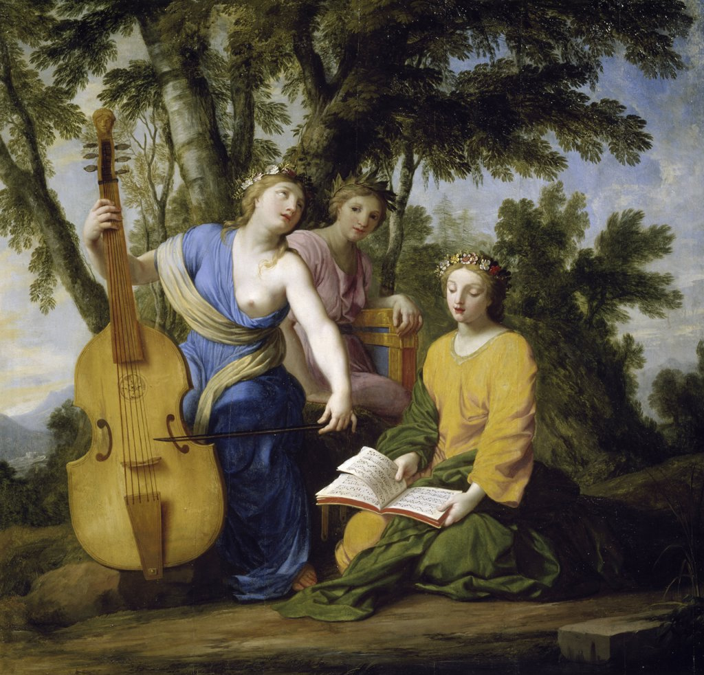 The Muses: Melpomene, Erato, and Polymnia by Eustache Le Sueur, (1617-1655), France, Paris, Musee du Louvre : Stock Photo