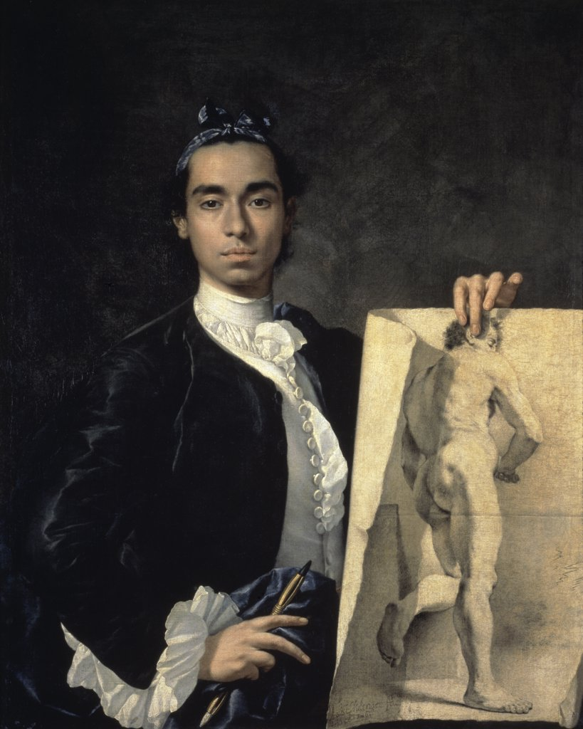 Portrait Of The Artist Holding A Life Study 18th Century Luis Egidio Meléndez (1716-1780 Spanish) Musee du Louvre, Paris, France : Stock Photo