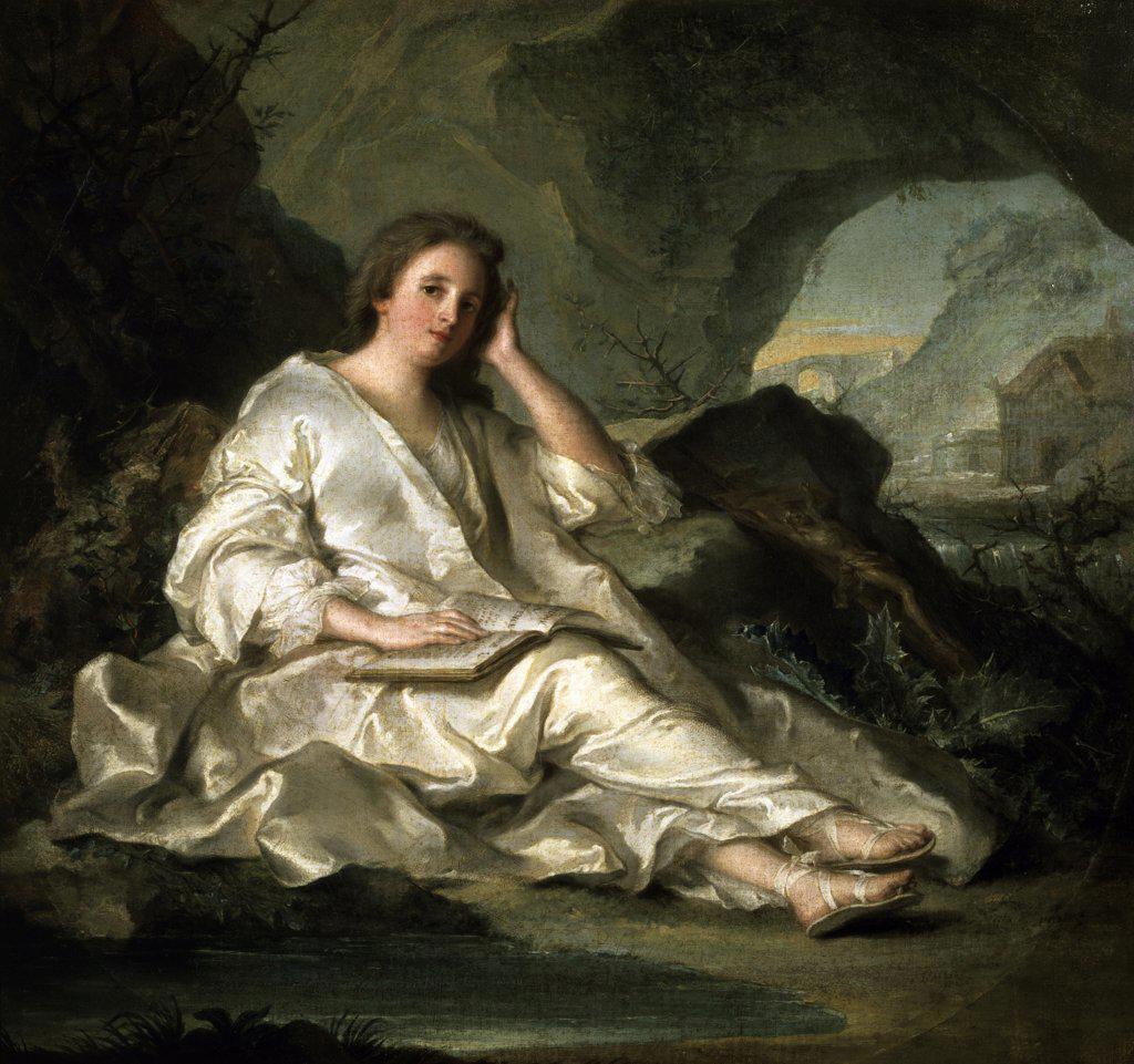 La Madeleine ou une Penitente dans le Desert 1742-1744 Jean-Marc Nattier (1685-1766 French)  Oil on canvas Musee du Louvre, Paris  : Stock Photo