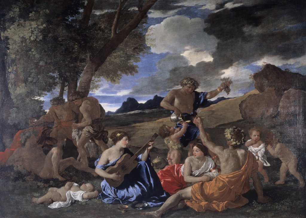 Stock Photo: 1158-2062 The Andrians, Known as the Great Bacchanal with Woman Playing a Lute 