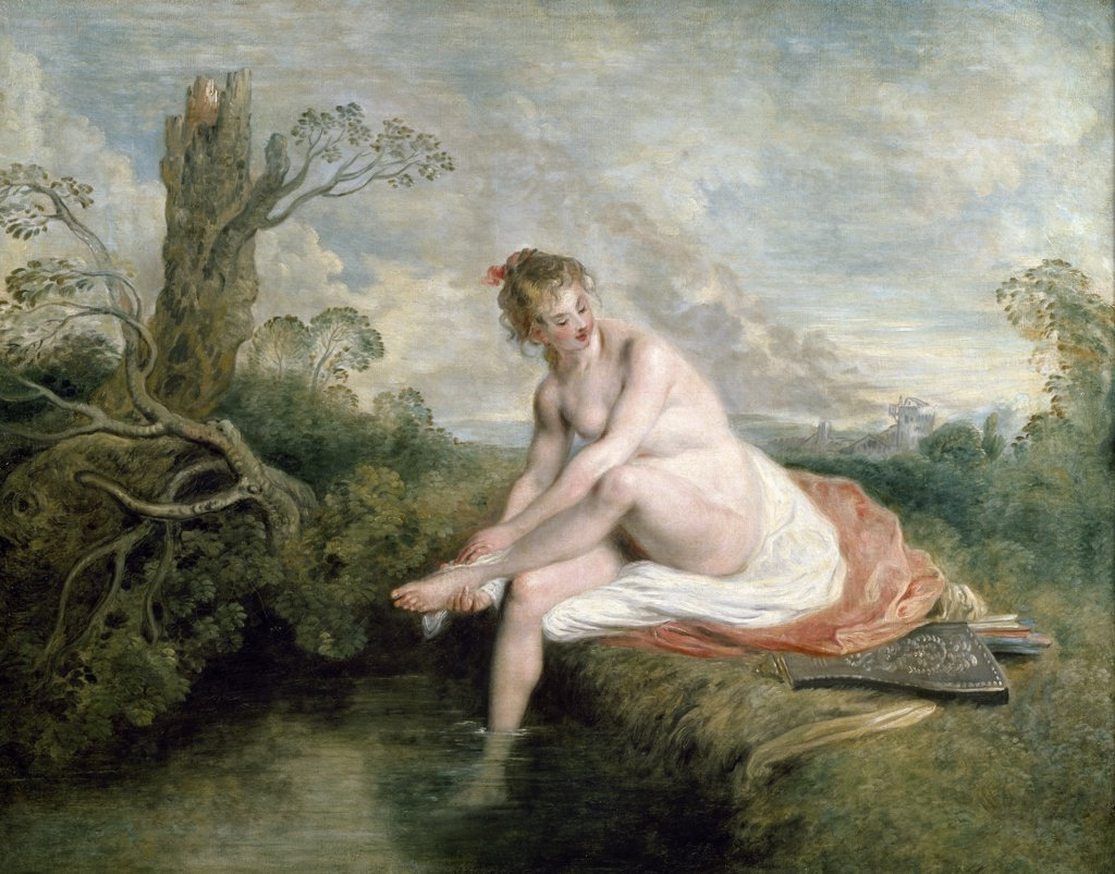 Diana Bathing by Jean Antoine Watteau, 18th Century, (1684-1721), France, Paris, Musee du Louvre : Stock Photo
