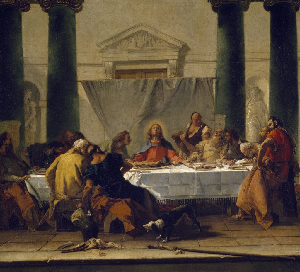 Stock Photo: 1158-2073 The Last Supper by Giovanni Battista Tiepolo,  18th Century,  (1696-1770),  France,  Paris,  Musee du Louvre