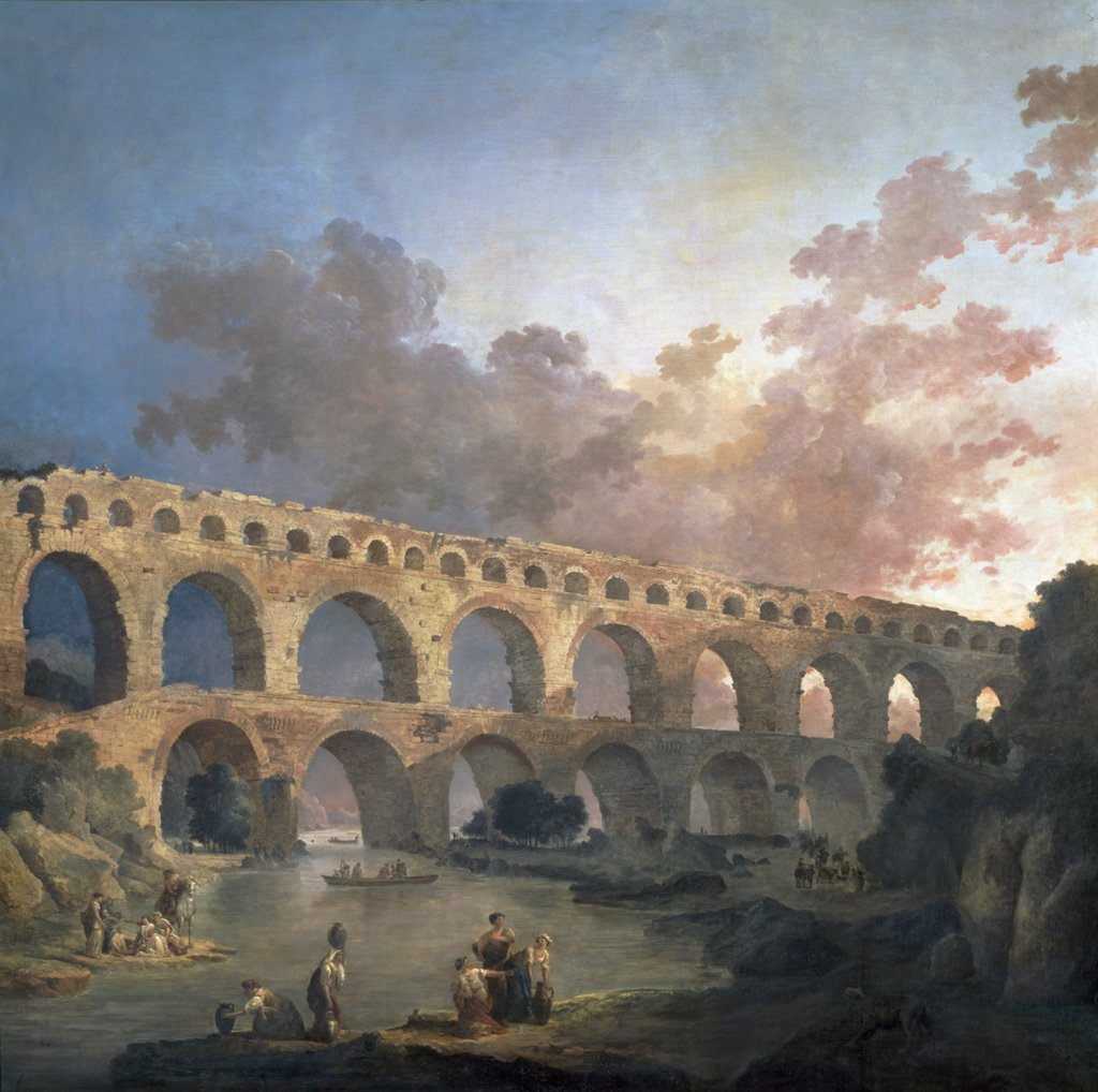 Stock Photo: 1158-2078 France, Paris, Musee Du Louvre, Pont Du Gard by Hubert Robert, (1733-1808)