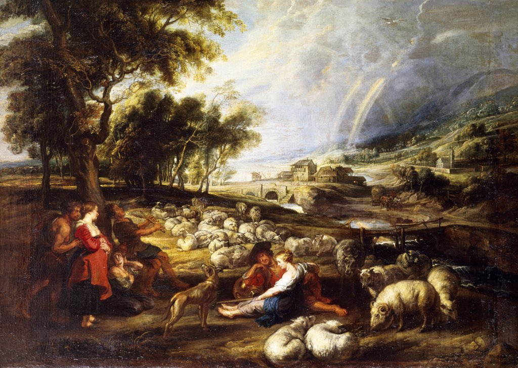 Stock Photo: 1158-2090 Landscape in a Rural Setting by Peter Paul Rubens, 17th Century, (1577-1640), France, Paris, Musee du Louvre