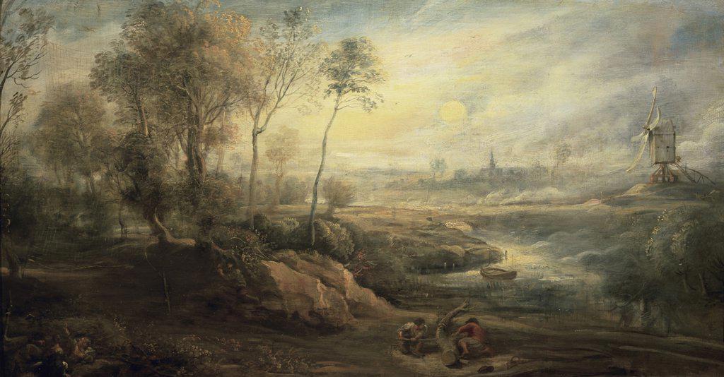 Stock Photo: 1158-2091 Landscape With A Bird-Catcher 17th Century Peter Paul Rubens (1577-1640 Flemish) Musee du Louvre, Paris, France