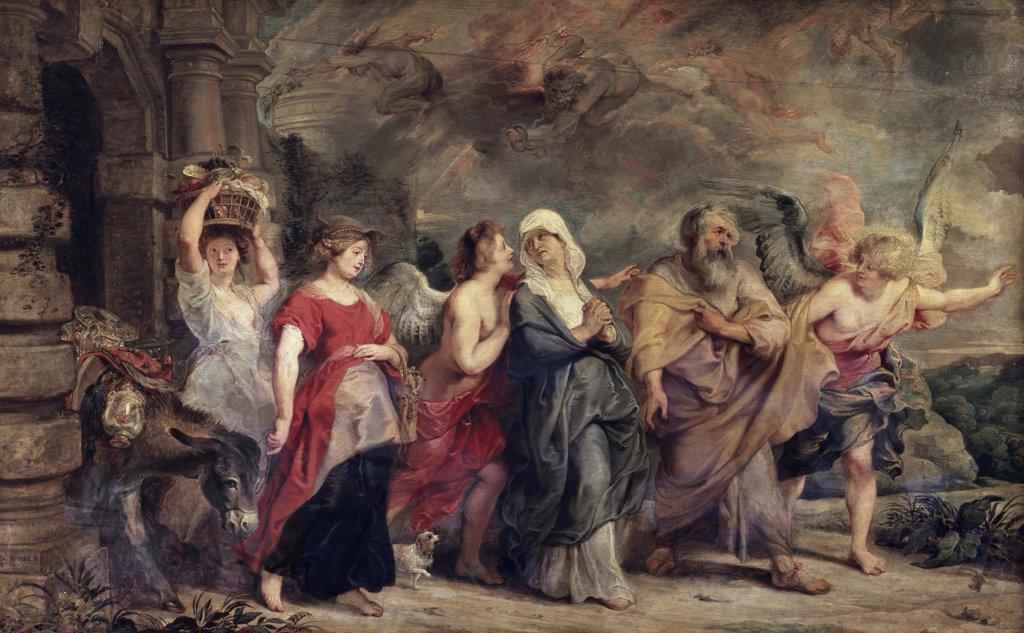 Stock Photo: 1158-2099 The Escape of Lot 17th C. Peter Paul Rubens (1577-1640/Flemish) Musee du Louvre, Paris, France