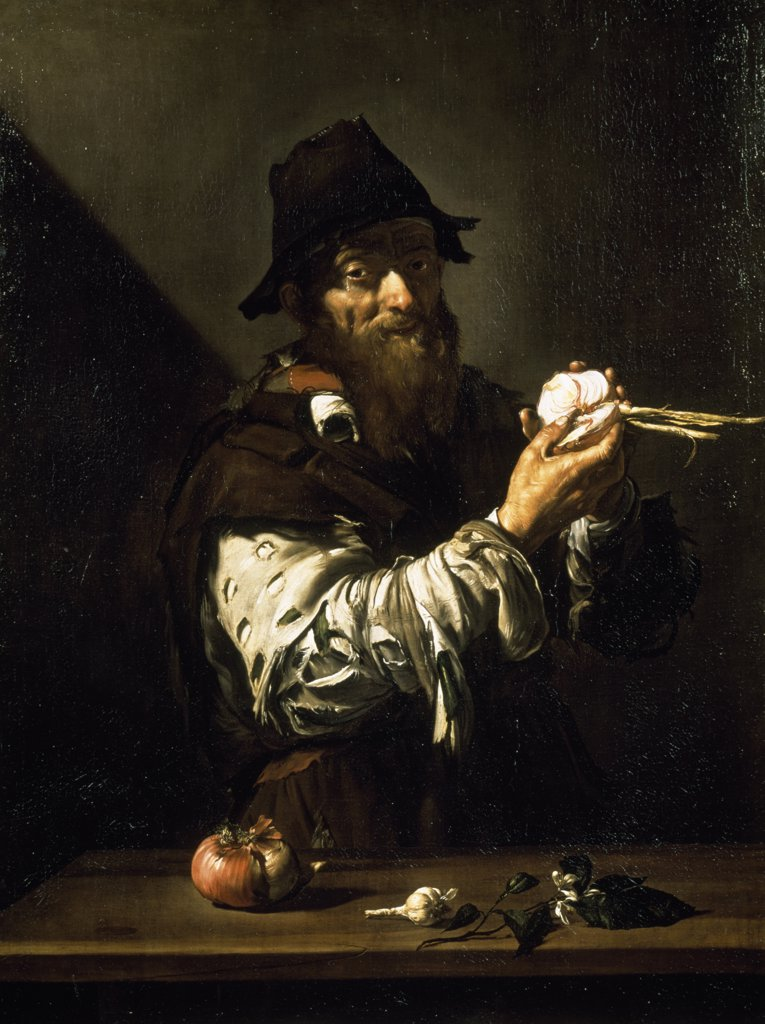 Stock Photo: 1158-2103 Old Man with Onions by Jusepe De Ribera, (1591-1652)